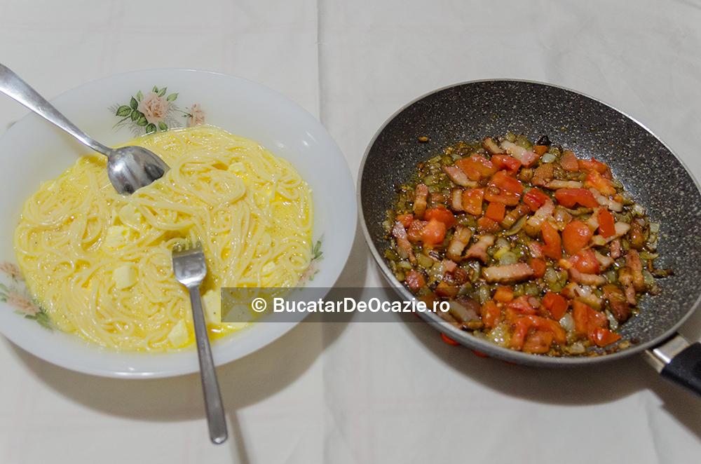 Omleta cu spaghetti - preparare
